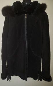 Like New Beautiful Black Suede Fur Coat Jacket M L